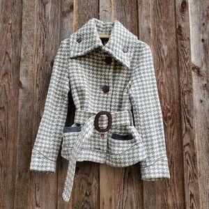 Soïa & Kyo Wool Houndstooth Belted Peacoat Jacket Grey White